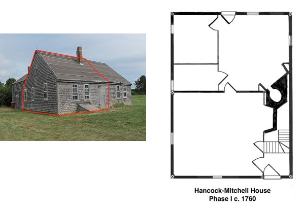 Figure 1. The Hancock-Mitchell house in Chilmark, MA., 2014. The red lines indicate the extent of the Phase 1 portion of the house, erected in c.1760. Photograph by The Cooper Group.