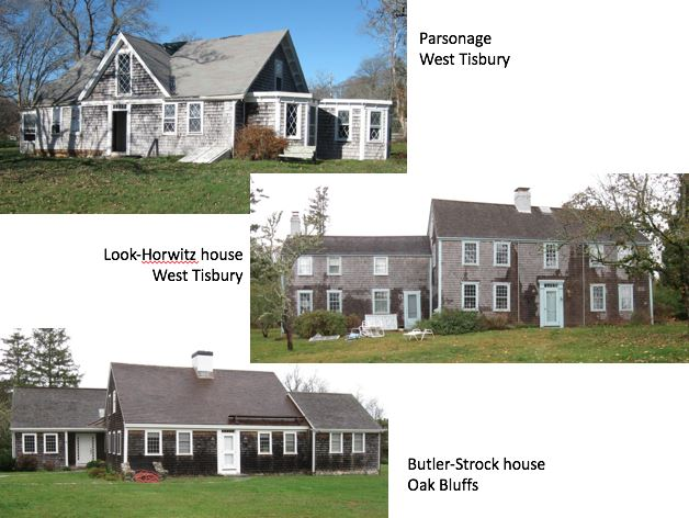 Figure 3. Three houses on Martha's Vineyard where additional dendrochronology sampling was undertaken in November 2015. Photographs by William Flynt.