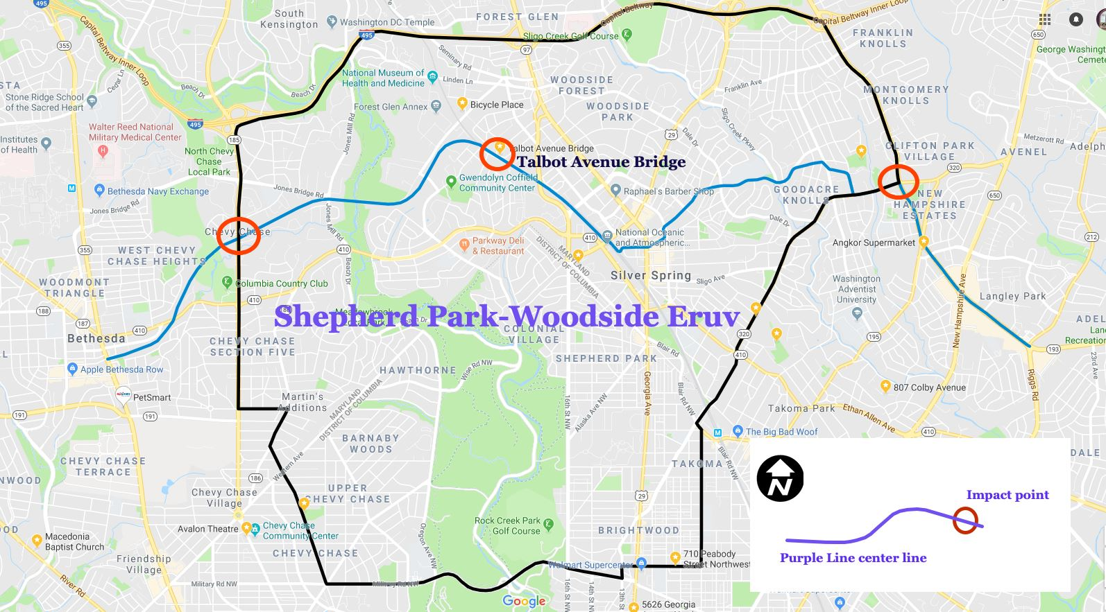 Map illustrating the Shepherd Park-Woodside Eruv and the Purple Line. Base map via Google Maps and Purple Line center line GIS data courtesy of the Montgomery County Department of Planning.