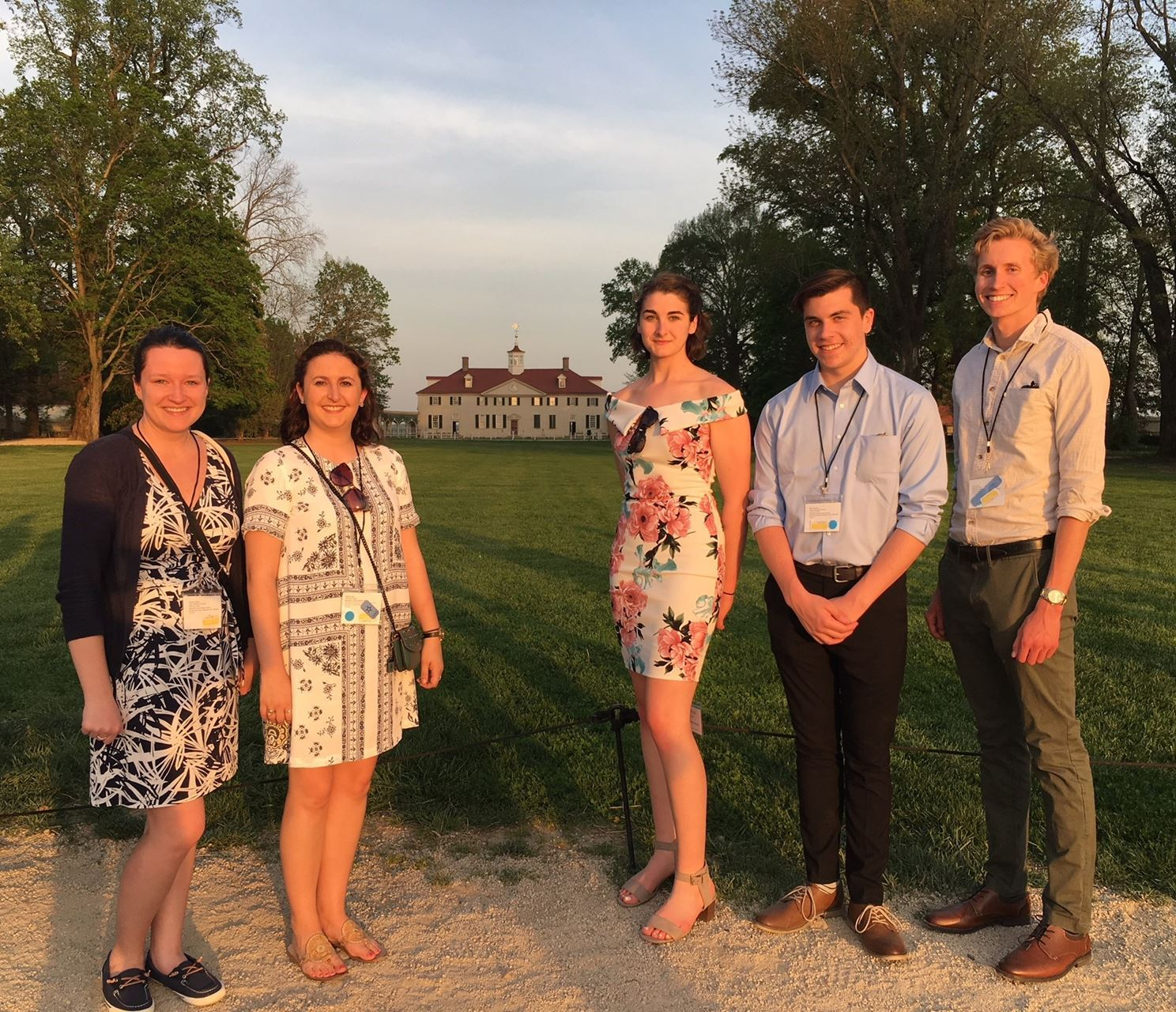 RWU Historic Preservation Program students at Mount Vernon. L to r Chelsea Towers, Sarah Lasky, Olivia Jacinto, Matthew Papineau, Henry Feuss. Photo by Elaine Stiles